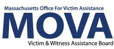 Massachusetts Office for Victim Assistance (MOVA) logo. Black and blue writing on a white background.